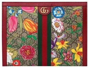 Gucci Ophidia Red Zip Large Clutch handbag Italy Leather White Flower Bag NEW
