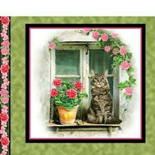 """Cats Fabric Cotton Craft Quilting Panel Fancy Felines Tabby Cat 22"""" x 18"""""""
