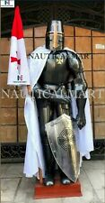 X-Mas Templar Medieval Knight Combat Armor Full Suit With Stand 6 Feet Cross