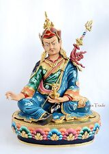 "Hand Carved Beautilfully Painted 19.25"" Guru Rinpoche Copper Statue Patan, Nepal"