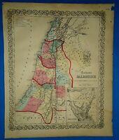 Antique 1857 Colton Atlas Map ~ PALESTINE - ISRAEL ~ Old Antique Original