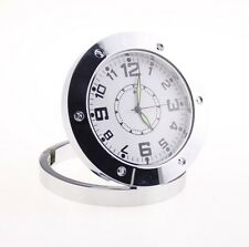 Mini Peephole Camera Spy Hidden Clock Nanny Metal Silver 480P Digital Pocket DVR