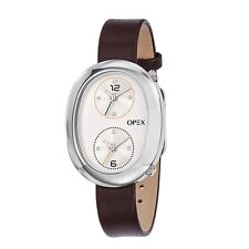 OPEX PARIS AOYAMA SILVER TONE,BROWN LEATHER,DIAMOND 2,DUAL TIME WATCH-X3971LA3