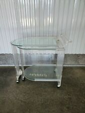 UNUSUAL LUCITE BAR CART WITH SWING OUT TABLE