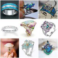 Fashion 925 Silver Opal Gemstone Ring Wedding Engagement Women Jewelry Size 6-10
