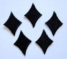 Lot of 5 Black Diamonds Cards Small Embroidered Iron on Patches Free Postage