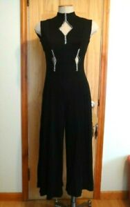 Vintage 70s Disco Black Polyester Rhinestone Sequin Cut Out Jumpsuit Small/Med