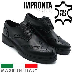 Scarpe da Donna Inglesine Pelle Nere Made Italy Invernali Antiscivolo Comode