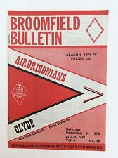 Airdrieonians v Clyde Scottish leauge first division December   1978