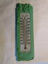 Green Outdoor Thermometer w Butterflies-He Who Plants a Garden Plants Happiness