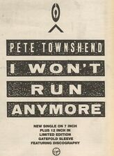 4/11/89Pgn22 Advert: Pete Townshend 'i Won't Run Anymore' His New Single 7x5