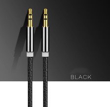 1M 3.5mm Nylon Jack Plug To Plug Male Cable Audio For Headphone/Aux/MP3/iPod