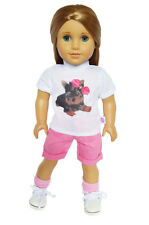 "Doll Clothes AG 18"" Shorts Pink Shirt White Yorkie Fits American Girl Dolls"