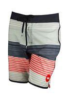 RVCA Mens VA Sport Sunday Stripe Trunk Boardshorts- Silver Gray/Black