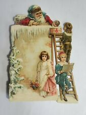 Late 1800's Oversized Diecut Embossed Trade Card Coffee With Santa On Roof Nr