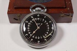"1940's LONGINES ""GCT"" 19.71N DECK WATCH WITH ORIGINAL WOODEN CASE !! #WS777"