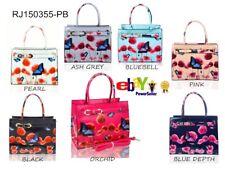 UK Women Ladies Floral Butterfly Print Top Handle Summer Shoulder Handbag Patent