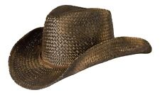Vintage Style Unisex Cowboy Hat - Black Straw With Shapeable Brim