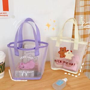 New Kawaii Bear Handbag Cute Cartoon Mesh Beach Bags Travel Storage Bag For G`hw