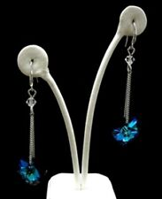 Earrings Blue Heart Elements Crystal White Gold Plated Drop Earrings