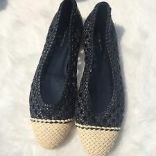 Dries Van Noten Flats Ballet Size 36 6.5 Black Leather White Cap Toes Crochet