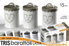 TRIS SET 3 PEZZI BARATTOLI H15 LATTA CUORE SALE ZUCCHERO CAFFè SSN 652059