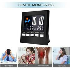 Weather Station Digital Thermometer Hygrometer Alarm Clock LCD Out/indoor Black