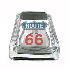 """Route 66 Glass Ashtray D4 4""""x3"""" US Highway Travel Historic"""