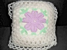Crocheted Baby Pillow Handmade Decorative Receiving White with Flower