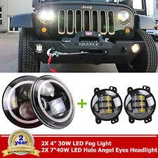 "7"" Round LED Headlight Halo Angel Eye Jeep Wrangler JK TJ+4"" 30W LED Fog Light"