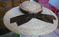 1940`s Natural Stunning Straw Large Wide brim Picture Hat by Jan Leslie