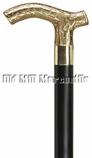 "Mens Victorian style brass handle walking cane 36"" long black shaft rubber tip"