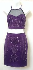 Hot/Sexy!! 2B bebe PLUM/PURPLE EMBELLISHED MIDRIFF DRESS Sz S~cocktail/clubwear
