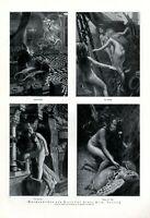 Märchen XL Seite von 1923 mit 4 Bildern von Franz Heim Nixe Meerjungfrau Fee Akt