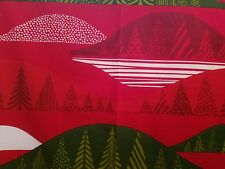Marimekko Fabric TULTAKERO 1 yd  x 56  RED Cotton  Christmas Spruce Trees