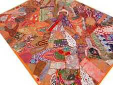 Quilt Orange Twin Patchwork Handmade Indian Bed cover Vintage Patches India J1