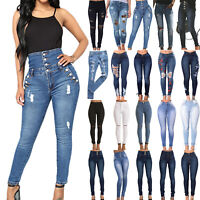 Women High Waisted Denim Jeans Stretchy Skinny Ripped Trousers Pants Jeggings