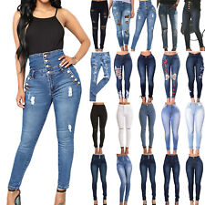 Women High Waist Denim Jeans Stretchy Skinny Ripped Trousers Long Pants Jeggings