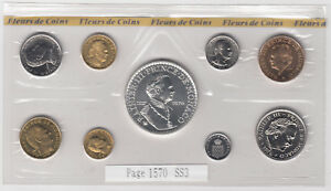 1976 Monaco Mint Set of 9 Coins with Silver Coin - Rare