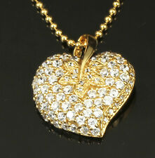 Vermeil Gold Sterling Silver CZ Pave Heart / Stawberry Pendant Chain Necklace