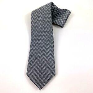 Sean John Mens Retro Houndstooth Silk Classic Neck Tie Silver