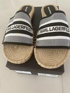 Karl Lagerfeld Black & White Slides Size 40 BRAND NEW IN BOX!