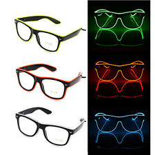 LED EL Wire Glasses Light Up Glow Sunglasses Eyewear Shades DJ Nightclub Party