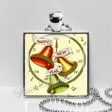 Vintage Happy New Year Bells Clock Handmade Pendant Necklace