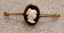 old rose gold plated glass cameo pin