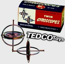 Pack Set Tedco Gyroscope Twin (2) Retro Science Physics Toy Spinning Top