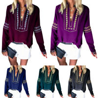 Womens Plus Size Vintage Floral V Neck Long Sleeve Blouse Casual Loose Shirt Top