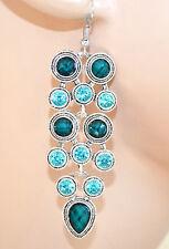 ORECCHINI donna argento verde azzurro etnici strass pietre pendenti regalo F288