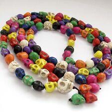 108 Multi-Color Howlite Turquoise Skull Tibet Buddhist Prayer Beads Mala Necklac
