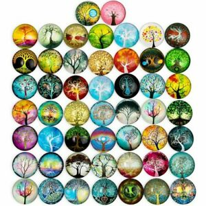 Glass Dome Cabochon, Tree of Life Mosaic Tiles for Jewelry Making (1 in, 50 Pcs)